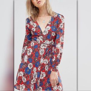 Floral Plunge Long Sleeve Waist Tie Dress